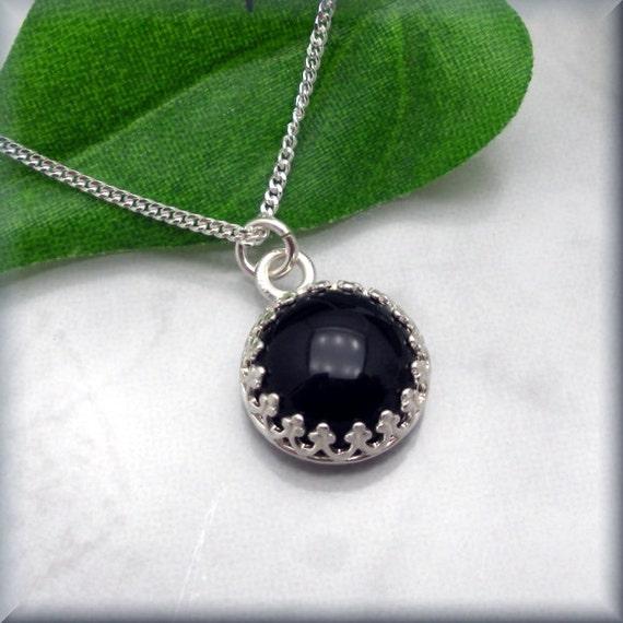 Black Stone Earrings: Black Onyx Necklace Gemstone Jewelry Stone Bezel By