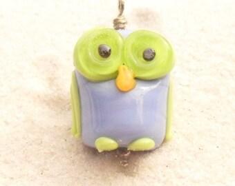 Lampwork Owl Pendant, Sterling Wire Wrapped, Periwinkle-Green, Artisan Handmade SRA LETEAM Glassymom