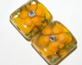 Lampwork glass beads, glass bead pair, matching handmade glass beads, organic design, flower, yellow, orange, SRA BHV