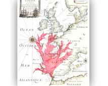 Seaweed art, Pressed seaweed Botanical collage Art,  reproduction vintage map Europe, Original Collage Seaweed Pressing, nautical art, 8x10