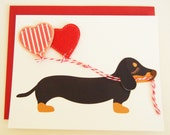 Teriyaki the Dachshund Doxie with Red Hearts Felt Applique Balloons Note Card with Envelope