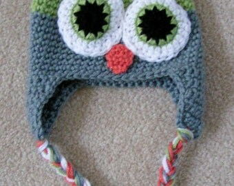 Owl Hat for Baby  Crochet  in Green and Gray size 3 to 6 months Ready to Ship