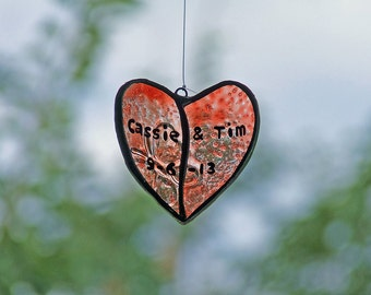 Personalized Wedding Gift, Upcycled Glass Heart, Unique Wedding Gift, Anniversary Gift