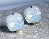 White Opal Crystal Stud Earrings Classic Sparkling Moonstone Solitaire Milky Swarovski 12mm 10mm Sterling Post & Copper - Women's Jewelry