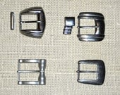 Vintage Set of 4 Silver Toned Art Deco Belt Buckles Large Size with 2 Findings