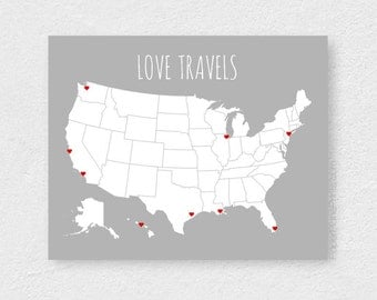 USA Travel Map, Blank United States Map, Road Trip and Vacation Map Poster With Stickers, DIY US Map Board With Red Hearts, 16x20 Grey