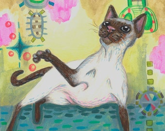 Siamese playing with invisible spirits pencil and acrylic paint on paper OOAK original