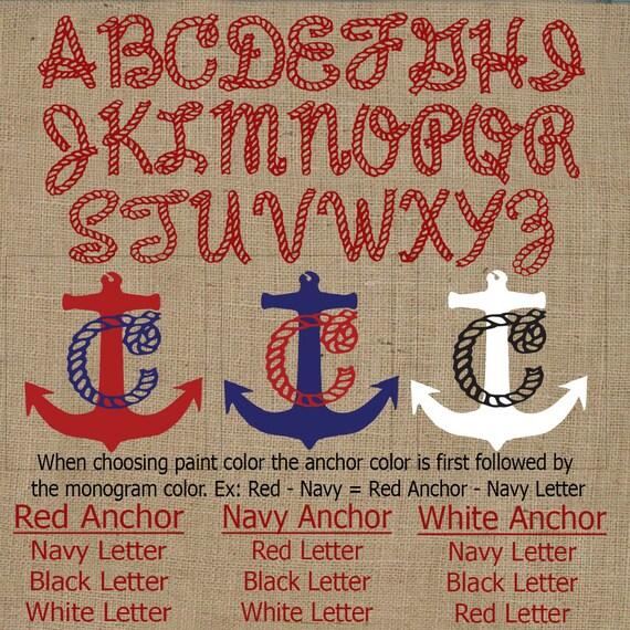 Nautical Anchor Monogram Pillow Burlap Pillow Nautical