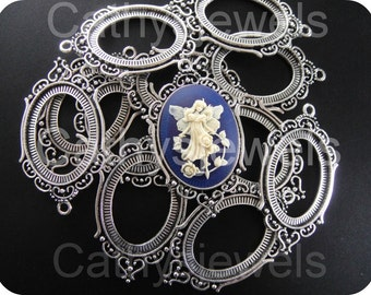 Regency Bright Antique Silver Cameo Settings 12 Pieces