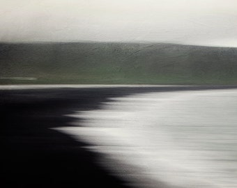 "Modern Scandinavian Art, Minimalist Landscape Photography, Abstract Nature Photography, Black Beach, Iceland, Nordic Print, 8x8 ""Flux"""
