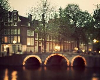 Amsterdam Art Print, Bridge and Lights, Dreamy Photography, Night, Travel, Neutral Home Decor, Autumn Colors - Night Magic