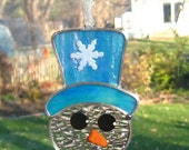 Blue Stained Glass Snowman, Snowman Tree Ornament, Glass Christmas Ornament, Holiday Stained Glass Snowman, Christmas Stained Glass