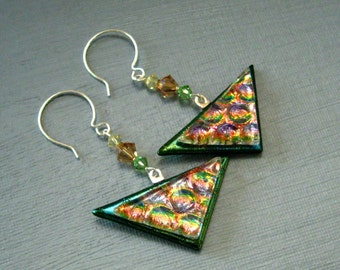 Triangular Swing Earrings, Fused Glass Earrings, Green Glass Earrings, Dichroic Fused Glass Drop Earrings