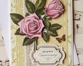 Happy Anniversary Card, 3D Anniversary Card, Wedding Anniversary, Handmade Anniversary Card, Blank Card, Floral Anniversary Card