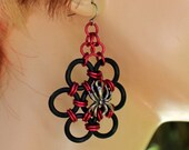 RESERVED Chainmaille Spider Web Halloween Earrings - Red