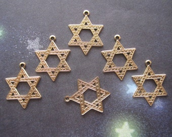 Star Of David Hebrew Charms Brass Supplies on Etsy x 6