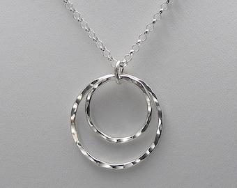 Double Open Circle Necklace, Silver Circle Necklace