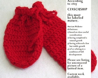 Crochet Willie Warmer for men - Penis Cozy candy apple red, mature