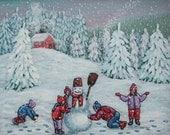 The snowman, children, snow, snow angels,  Original Acrylic naive painting