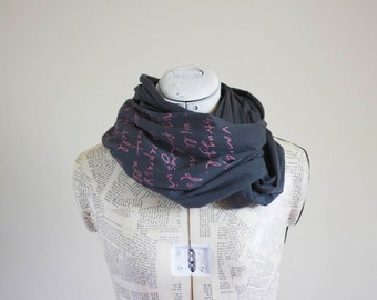 Pink on Charcoal - Mr. Darcy proposal scarf- More colors- Jane Austen - Pride and Prejudice