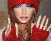 Stunning Warm and Soft Cloche Hat with Matching Arm  Wristlets