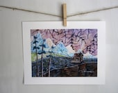 Cozy Cabin, rustic woodland cottage log home, mountains,  archival reproduction print 8.5 x 11
