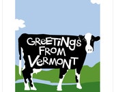 greetings from Vermont cow illustration hand lettered type note card