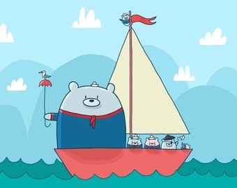 Sail Boat Bears Art Print