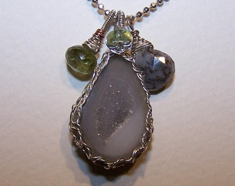 Tabasco Geode, tourmaline Dendritic Opal,  sterling silver ball necklace