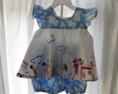 Baby Pinafore and Bloomers Sarah Jane Fabric Lets Pretend Size Large