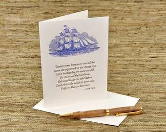 Mark Twain Quote -  Letterpress Card - Adventure and New Beginnings