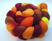 Handpainted Organic Polwarth Spinning and Felting Fiber 4 oz. Braid OPJ8d