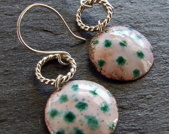 SALE 30 Percent off - Enamel Earrings Sea Green and White  POLKA Dot Copper and Sterling Silver Braided Hoops Dangly Wires, Handmade OOAK