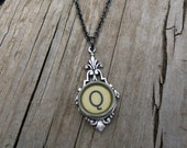 Letter Q  Vintage Typewriter Key  Drop Necklace