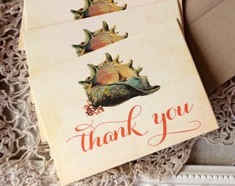 Vintage Seashell and Sailboat Thank You Notes set of 5