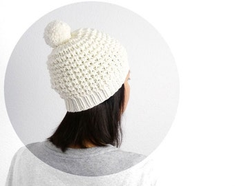 Emma Merino PomPom Hat. Hand Knit Lace. Porcelain Cream. Romantic Vintage Snow Ski Style. Spring / Christmas / Winter.