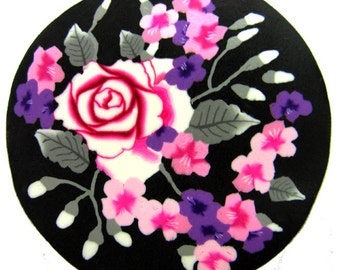 "Polymer clay milefiore canes. 1"" wide. Detailed bouquet flowers -  A light breeze"