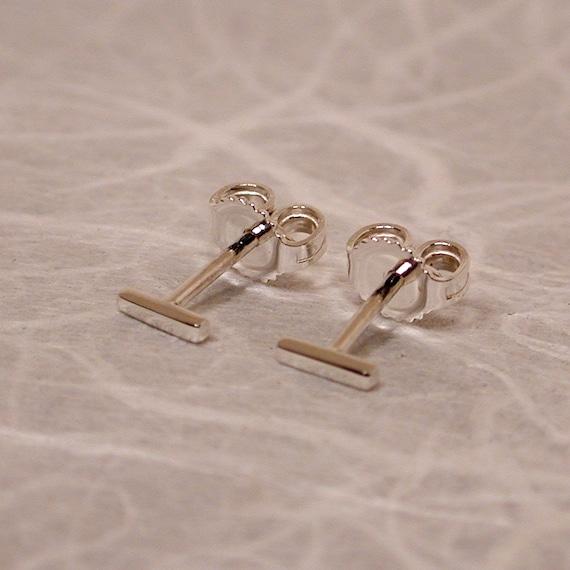 5mm x 1mm Teeny Tiny Earrings Thin Silver Studs Ultra Thin Bar Stud Earrings 5mm Silver Earrings Skinny Minimal Jewelry by Susan Sarantos
