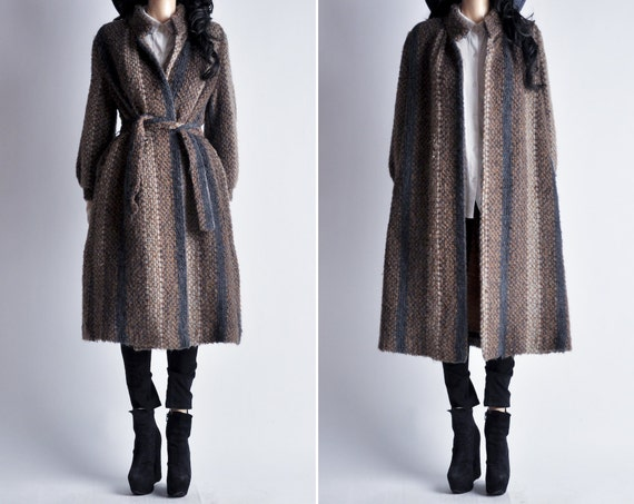 60s boucle knit striped coat s m by persephonevintage