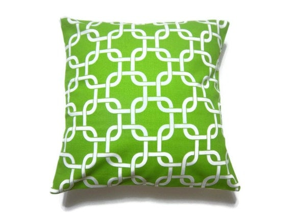 Decorative Pillow Cover Chartreuse White Modern Geometric Design Same Fabric Front/Back Toss Throw Accent 16x16 inch x