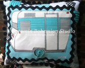 Custom Painted Retro Vintage Camper Trailer Pillow in Aqua Silver and Black