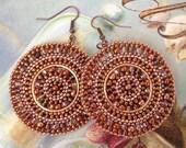 Beaded Earrings - Big Bold Copper Disc Seed Bead Earrings