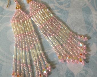 Seed Bead Fringe Earrings - Long Pink Beaded Crystal Earrings - Beadwork Jewelry
