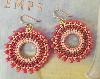 Beadwork Small Hoop Earrings - Pink Berries - Multicolored Seed Bead Earrings
