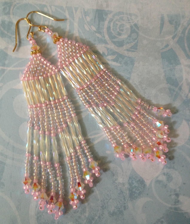 Seed Bead Fringe Earrings Long Pink Beaded Crystal Earrings