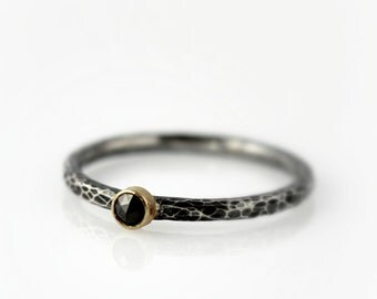 Rose cut diamond ring -  18K gold and oxidized sterling silver ring with 2.5mm black diamond