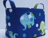 Fabric Organizer Storage Container Bin Basket - Fun Dot Dot Elephants on Dark Blue