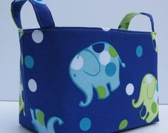 READY TO SHIP - Fabric Organizer Storage Container Bin Basket - Fun Dot Dot Elephants on Dark Blue