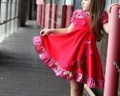 Girls Valentine red dress Paris twirl dress Eiffel Tower holiday birthday Party Twirl dress size 4 - Orient Express Reagan