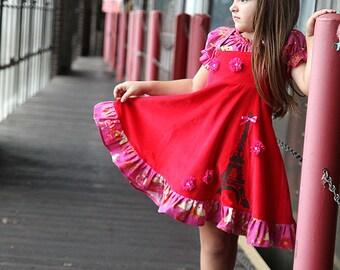 Girls Paris Eiffel Tower holiday birthday Party Twirl dress size 2T to 12 yrs Dress
